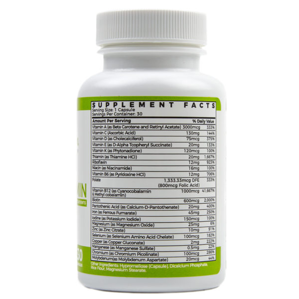 Once Daily Bariatric Supplement Facts 30 Capsules