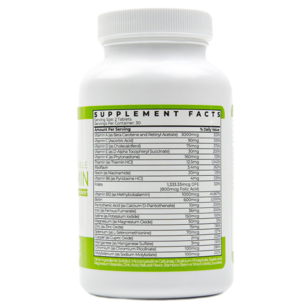 Advanced Chewable Bariatric Multivitamin Supplement Facts Wild Cherry 60 Tablets